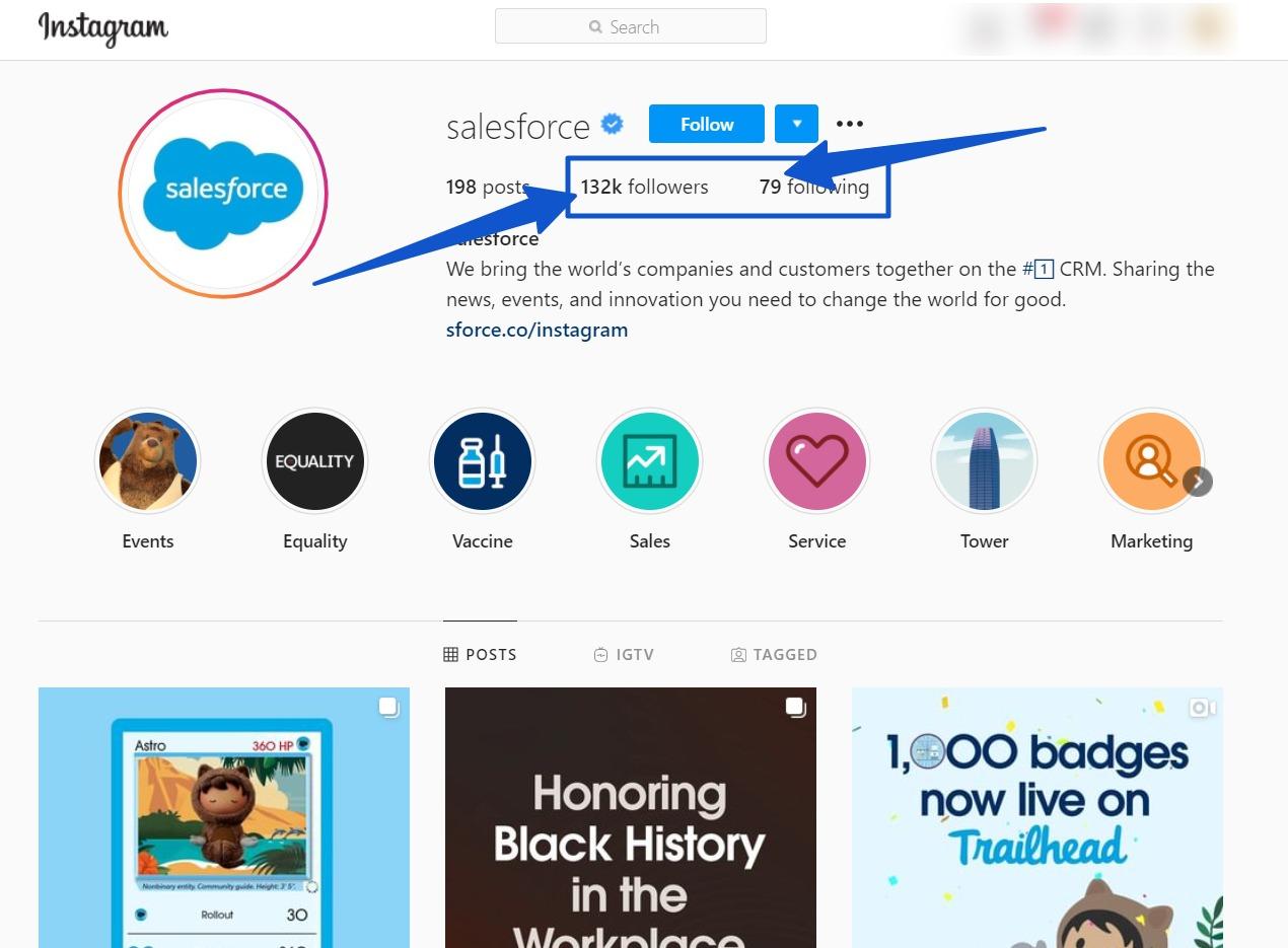 Salesforce Instagram account
