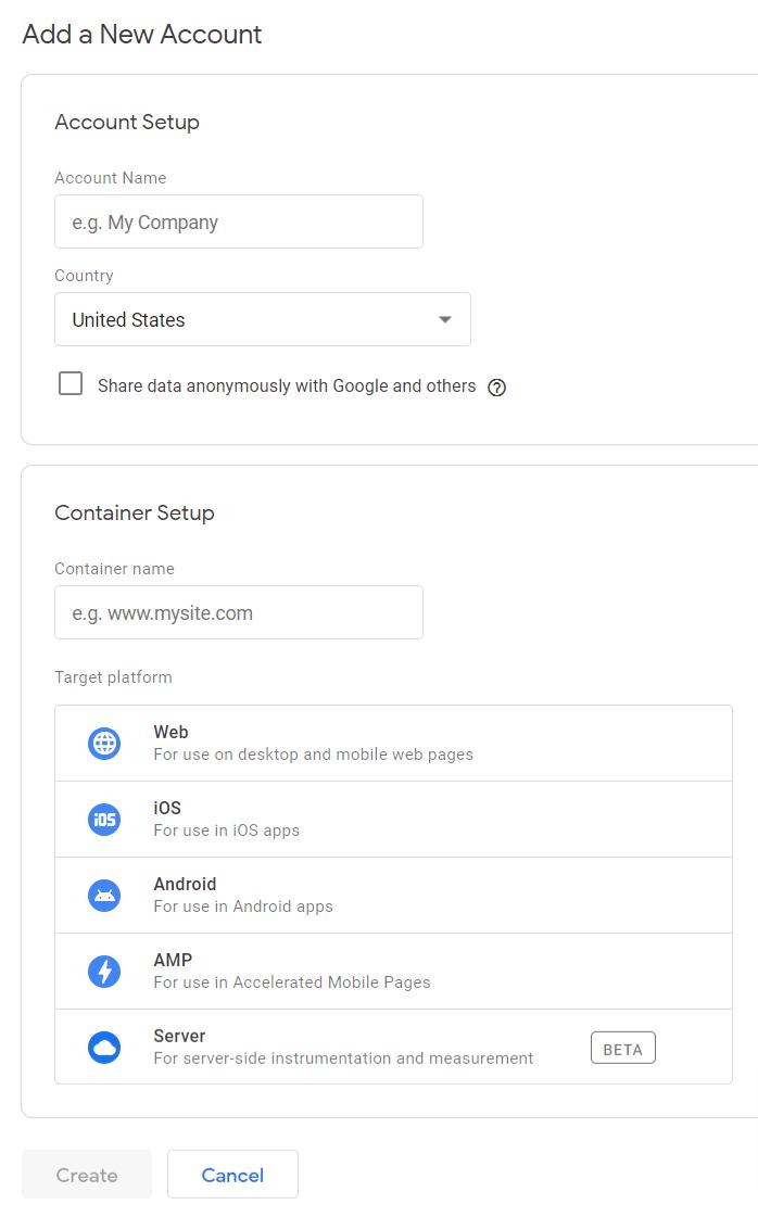 Google Tag Manager Account Setup